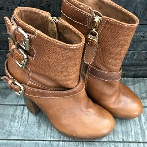 Juicy Couture Tan Boots Triple Gold Buckle 6